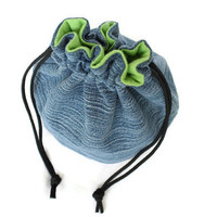 Bucket Bag Denim & Green Flannel Upcycled Blue Jeans Travel Tote Toy Bag - US Shipping Included