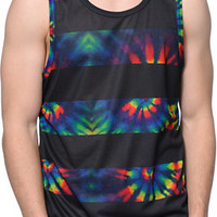 Empyre Tripped Black & Tie Dye Stripe Tank Top