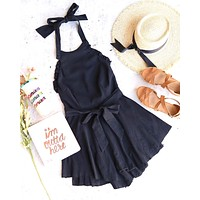 open back halter linen flare mini dress in black
