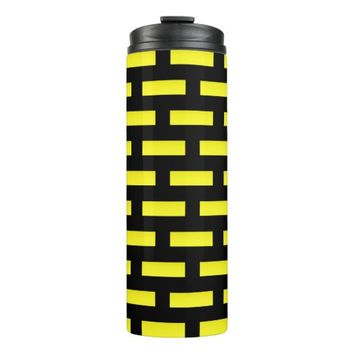 Wall Pattern Black and Yellow Thermal Tumbler