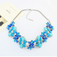 Blue Flower Rhinestone Chunky Chain Necklace
