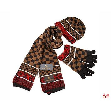 Louis Vuitton LV Autumn Winter Popular Retro Plaid Pattern Warm Knit Hat Cap Scarf Gloves Set Three Piece 6#