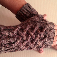 Knit Fingerless Gloves, Cocoa Brown Gloves, Knitted Hand Warmers, Knit Gauntlets, Unisex Fingerless Gloves, Fingerless Mitts