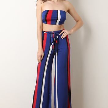 Two-Piece Striped Bandeau with Palazzo Pants Set