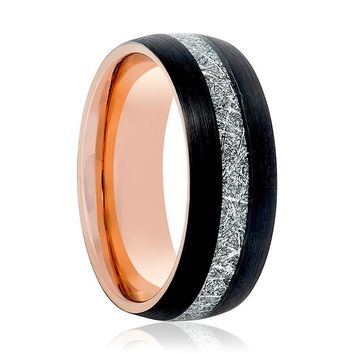 Aydins Rose Gold & Black with Meteorite Inlay Tungsten Mens Ring 8mm Tungsten Carbide Wedding Band