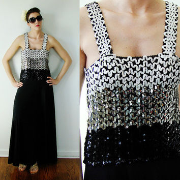 VINTAGE 1960s Toni Todd Maxi Dress Black & Silver Sequin TALL Glam Prom