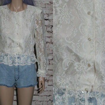 70s Cropped Blouse Ivory Lace Ruffle Satin Gypsy Boho Festival Shirt Crop Top Button Up  XS S 80s