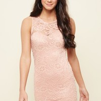 Pink Floral Lace Bodycon Dress