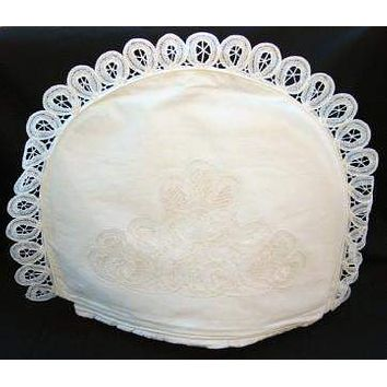 White Battenburg Lace Domed Tea Cozy with Removeable Liner - Only 6 Left!