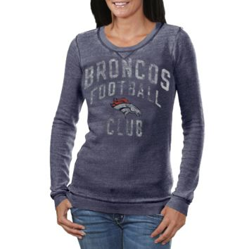 Touch by Alyssa Milano Denver Broncos Ladies Redzone Burnout Long Sleeve Thermal T-Shirt - Navy Blue