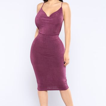 Frederica Ruched Dress - Plum