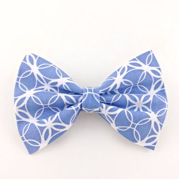 Blue & White Large Bow, Cute Hair Bow Attached to French Barrette, Summer Hair Accessories, Big Bow