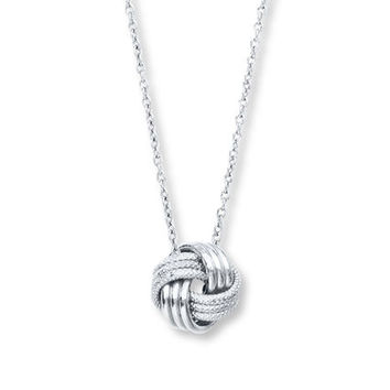 Love Knot Necklace 14K White Gold
