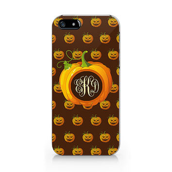 Pumpkin phone case, monogram Hallowqueen phone case,iPhone 5 5S case, iPhone 4 4S case, Free shipping N-469