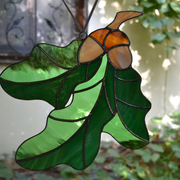 Stained Glass Panel Oak Leaves and Acorns, Nature Suncatcher Art Glass, Window Hanging Decoration or Wall Decor