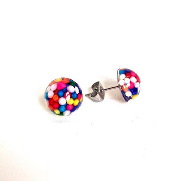 Tiny candy stud earrings, small sprinkles stud earrings, candy post earrings, candy resin jewelry, sweet lolita jewelry