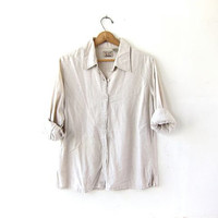 vintage linen blend shirt. button down oatmeal shirt. oversized slouchy shirt. modern minimalist.