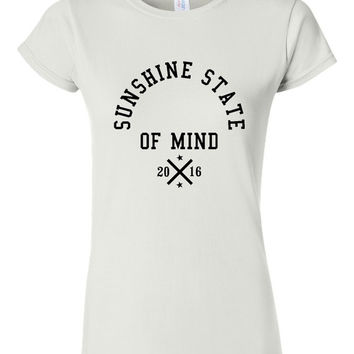 Sunshine State of Mind Summer 2016 T Shirt Fun Summer T Shirt Vacation Beach Top Fashion Trending Beach top Ladies Unisex styles Available
