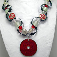 Asian inspired beaded ribbon necklace. Red pendant, red and mint beads. Black and silver ribbon. Statement necklace. Ships free.
