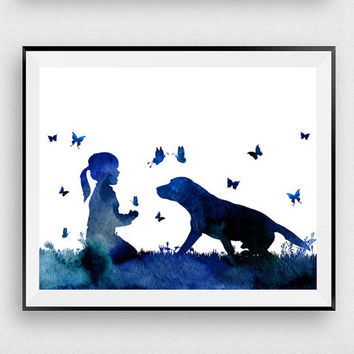 Nursery print, Dog print, Girl with dog, Kids print, Woodland baby art, Inspirational art, Kids room art, Poster print, Baby shower gift