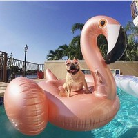150CM Rose Gold Inflatable Flamingo Pool Float Flamingo Boia Inflatable Swimming Ring Pool Swim Float Pool Party Piscina Boias