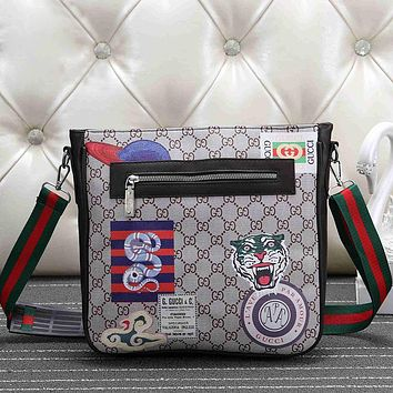 GUCCI Men Fashion Leather Crossbody Shoulder Bag Satchel