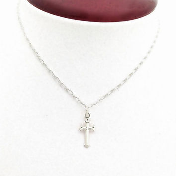 Small Silver Cross, Tiny Cross Necklace, Sterling Silver, First Communion Gift, Cross Pendant, Religious Jewelry, Christian, Delicate Chain