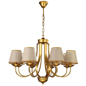 Modern Design Chandelier Gold Iron Lamp Living Room Bedroom Dining Light Flaxen Fabric Lampshade Lighting Fixture E14 110-240V