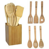 kitchen tools 6pcs Bamboo Spoon Spatula Kitchen Utensil Wooden Cooking Tool Mixing Set