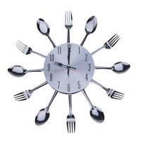 New Modern Design Metal Cutlery Kitchen Utensil Style Clock Spoon Fork Wall Clock Home Decorates SV013677|26601 (Color: Silver) = 1745340676