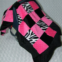 ZEBRA MINKY Carseat Canopy Blanket-- Ships in 1-3 Days