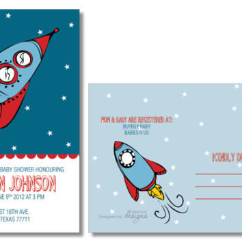 Space Rocket Baby Shower Invitation, Boy Baby Shower, space ship, rocket, moon stars, 4x6 Postcard - DIY PRINTABLE  Digital File