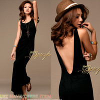 Vogue Black Sexy Womens Backless Halter Long Maxi Dress