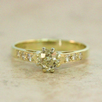 Diamond Engagement Ring Vintage Ring 14k Yellow Gold Ring Old Mine Cut Diamond Ring Diamond Solitaire Estate Ring Wedding Ring Size 7.5