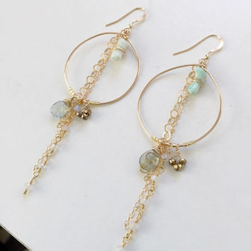 SOLANA Petite - 14k gold fill hoop chandelier earrings with coral, pyrite, moss aquamarine, gold dangle hoop earrings, gold beach earrings