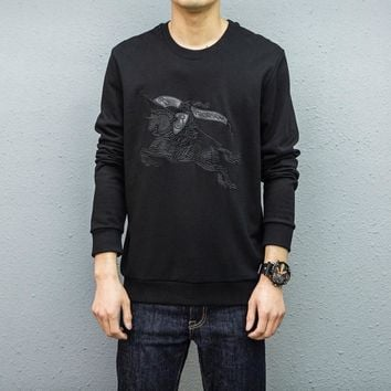"""""""Burberry"""" Simple Fashion War Horse Embroidery Long Sleeve Sweater Men Casual Solid Color Pullover Tops"""