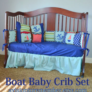 Custom Crib Set,  Boats and Anchors, Blue, Turquoise, and Red, Made to Order