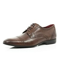 River Island MensBrown leather round toe brogues