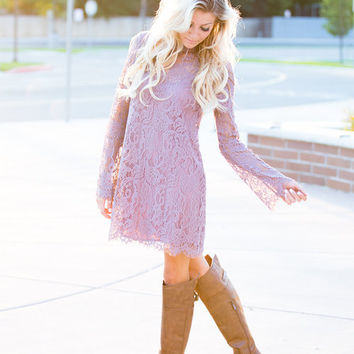 First Day of My Life Lace Dress Mauve