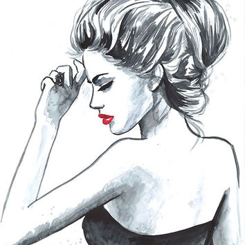 Original Watercolor Fashion Illustration Modern Art Painting tittled Au Revoir
