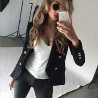 Double Breasted Buttoned Long Sleeve Suit