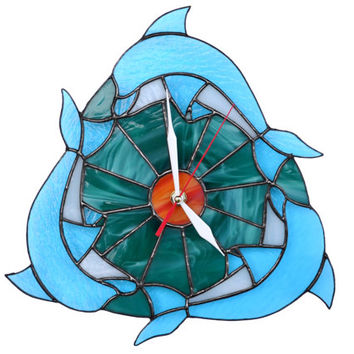 Beach Wall Clock with Sun, Ocean Waves and Dolphins - Stained Glass Nautical Decor in teal, orange and blue colors - Unique Art Wall Decor