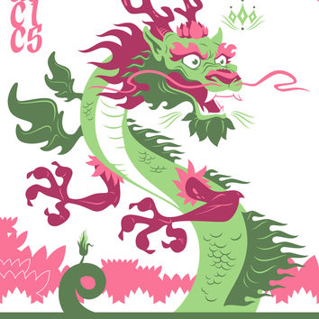 Imperial Lotus Dragon Screen Printed Poster Autographed by Scott Tolleson
