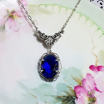 Sapphire Necklace Sapphire Blue Glass Rhinestone Necklace Art Deco Jewelry September Birthstone Wedding Something Blue Prom Plus Size