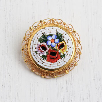 Vintage Micro Mosaic Flower Brooch - Gold Tone White Background, Colorful Rose Italian Filigree Costume Jewelry Pin / Floral Tiles