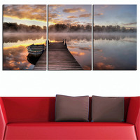 NO FRAME 3pcs lake dock sunrise Printed Oil Painting On Canvas wall Painting for Home Decor Wall picture