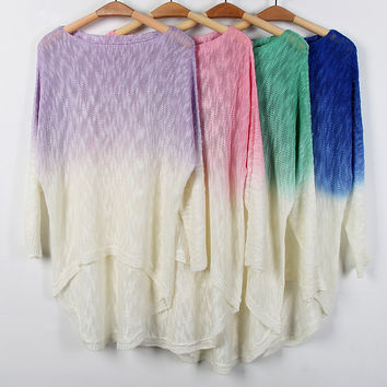 Womens Long Sleeved Gradient Pullover Knited Sweater Autumn Winter Gift-89
