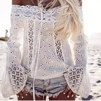 Off Shoulder  Long Flare Sleeves Top