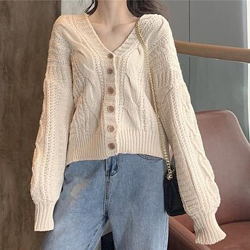 Knit Sweaters Elbow Patches Buttons Cardigan Jacket Coat Knitwear