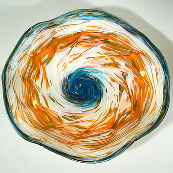 Orange Blue and White Hand Blown Art Glass Wall Platter / Bowl Decorative and Functional